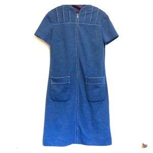 Vintage '60s shift dress - slate blue, sizes 6-10